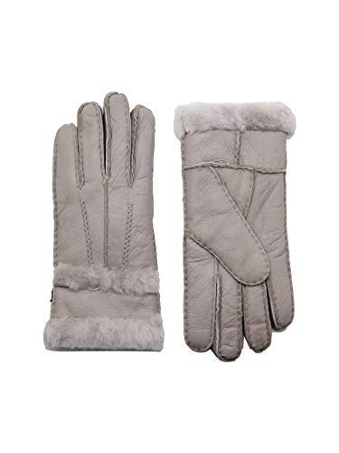 YISEVEN Damen Shearling Lederhandschuhe mit Warm Gefüttert Winter Lammfell Leder Autofahrer Handschuhe, Hellgrau M