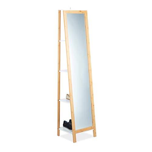 Relaxdays Regal mit Ganzkörperspiegel, 4 Fächer, Stabiler Stand, natürliche Optik, Bambus, HBT: 170x40x35,5cm, Natur - Standard-holz-spiegel