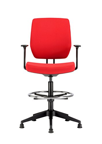 Best Price Chairs For Offices HI131104RE High Seat Draughtsman Workbench Counter Chair with Arms Red Free 3 day Delivery on Line