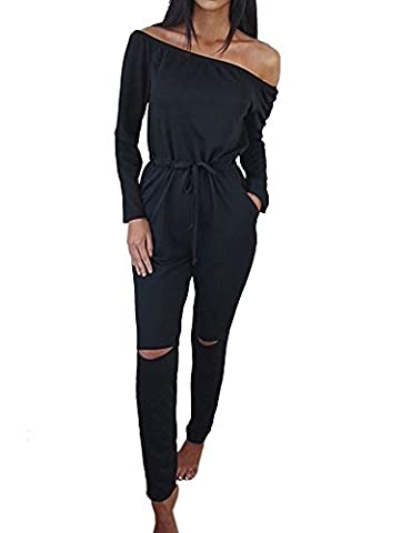 Elevesee Women's off-Shoulder Bodycon Knee Hole Pants Party Club Jumpsuits Rompers Black Small