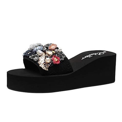 JURTEE Sandalen Damen Sommer, Bohemian Open Toe Fashion Rutschfeste Keilhausschuhe Pearl Beach Schuhe(37 EU,Grau)