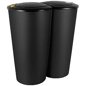 Duomülleimer 2-fach Mülleimer Abfalleimer schwarz 2 x 25 Liter