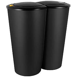 deuba 2 fach m lleimer duom lleimer 2x25liter druckknopf automatik 50x53cm schwarz amazon. Black Bedroom Furniture Sets. Home Design Ideas