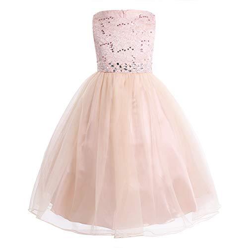 CHICTRY Kinder Mädchen Kleid festlich Lange Brautjungfern Kleider Hochzeit Blumenmädchenkleid Prinzessin Party Kleid Tüll Festzug Perle Rosa 140