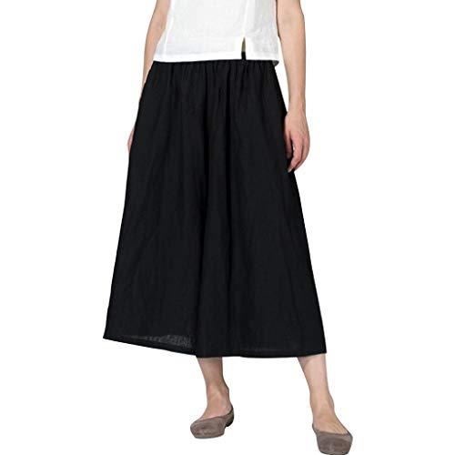 SHUBIHU Damen Yogahose Pilates Baumwoll Leinen Mischung Pocket Hosen Für Fitness Plus Size Weite Hosen Jogginghose Neu 2019 (Schwarz, XL) -