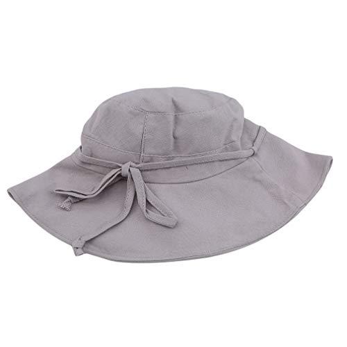 MOONQING Ladies Wide Brimmed Bucket Hat Faltbarer Fischer-Sonnenhut mit Fliege, grau