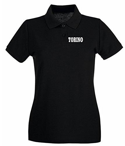 T-Shirtshock - Polo pour femme WC0899 TORINO BIANCONERA ITALIA CITTA STEMMA LOGO Noir