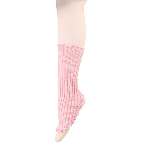 DANCE YOU Scaldamuscoli da Donna Leggings per Inverno Danza Ballet, Caldi Coprendo la Caviglia Flessibile Staffa Gambale Calzini Rosa 40cm