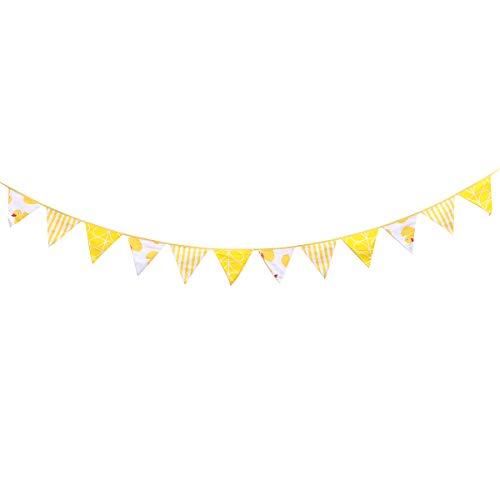 BESTOYARD 3M Wimpel Fahnen Banner Gelbe Streifen Ente Bunting Garland 12 Dreieck Fahnen Dekoration für Hochzeit Geburtstag Baby Shower Graduation