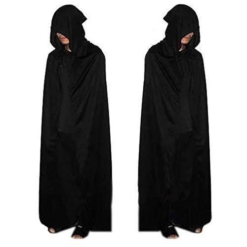Kapuze in schwarz für Erwachsene - Einteiler aus Polyester perfekt für Halloween, Karneval & Cosplay - Einheitsgröße 160-180cm ()