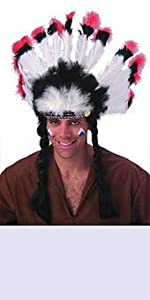 Rubies Native American Headdress. Adult one size. (accesorio de disfraz)