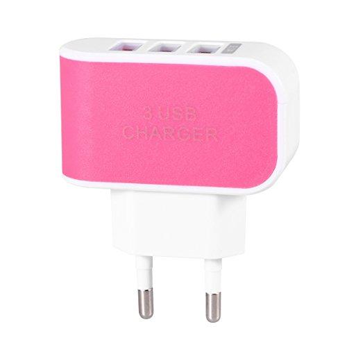 Universal drei USB-Anschlüsse Steckdosen-Wand-Aufladeeinheit Wechselstrom-Adapter 3.1A Schnellaufladungs-Stecker mit LED-Licht für iPhone 7 / 6s / Tabletten / Galaxie S8 / LG / Nexus / HTC / OnePlus M (Wechselstrom-wand-ladegerät-adapter)