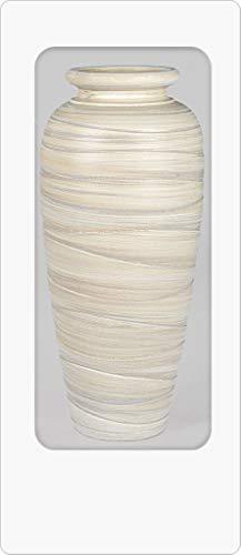 Dekorative formschöne Bodenvase 60cm Creme - Relief aus Schwerer Keramik