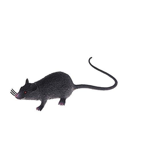 HShyxlkj 1 Stück Kunststoff Ratten, Maus Modell Figuren Kinder Halloween Tricks Streiche Requisiten Spielzeug - WhiteFunny Lebensstil Halloween Requisiten Kinder Spielzeug, Schwarz