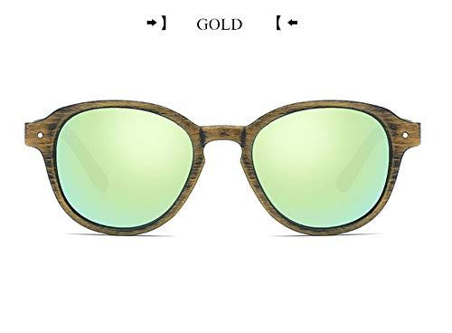 WSKPE Sonnenbrille,Vintage Spiegelgläser Fahren Sonnenbrille Männlichen Holzmaserung Frame Brille Sonnenbrille Uv 400 Braun Rahmen Gold Linse