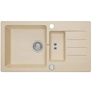Einbau Granitspüle MALIBU 80 für 60er U-Schrank Küchenspüle Spülbecken (AXIS BEIGE)