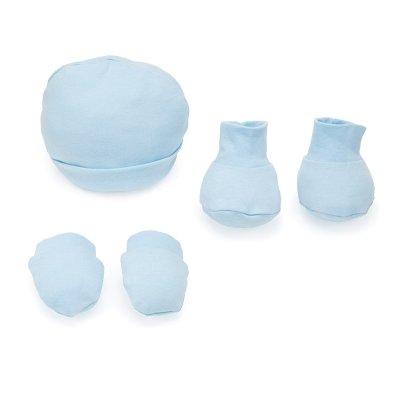 Conjunto de Gorro, manoplas y patucos para bebé - Azul - Talla 3-6 meses- 100% algodón