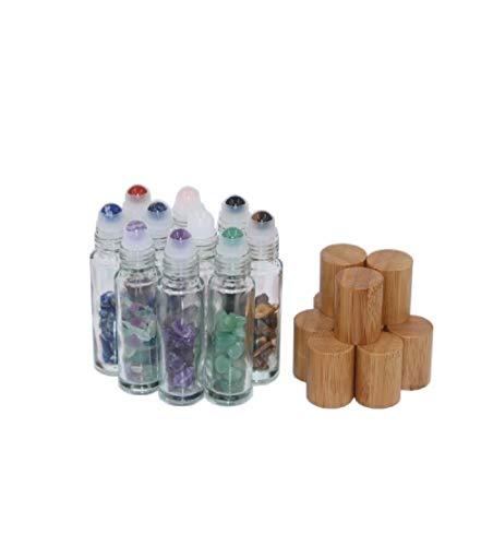 10 Packungen 10 ml natürliche Halbedelsteine, durchsichtiges Glas, Roll-On-Flaschen, Edelstein, ätherische Öl-Rollflaschen mit Bambus-Kappen und Heilkristall-Chips innen