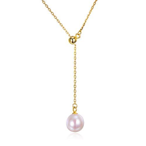 Dalwa Perlenkette für Damen 14 Karat 585 Gold Vergoldete Kette aus 925  Silber Halskette mit Perlenanhänger 72baa2601f