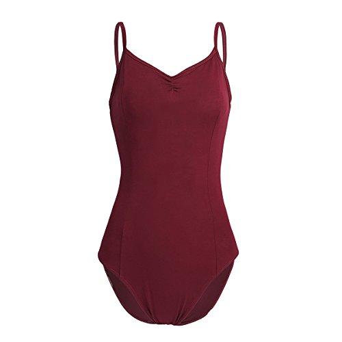TiaoBug Femme Justaucorps Ballet de Danse Gym Classique sans Manches Bretelle Body Jumpsuit Collant Combinaison XS-XL