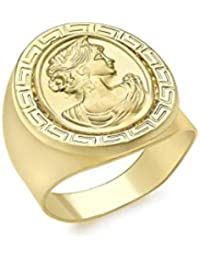 Carissima Gold Women's 9 ct Yellow Gold 17.9 x 21.5 mm Oval Greek Cameo Ring