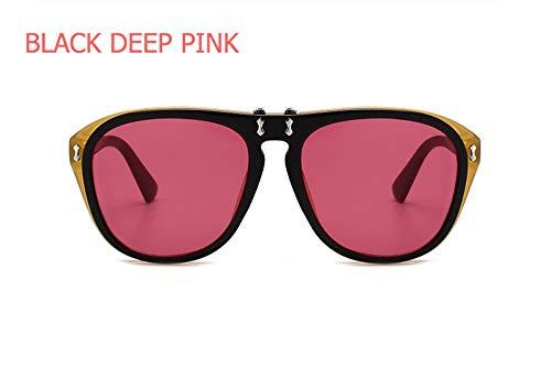 WSKPE Sonnenbrille,Mode Sonnenbrille Double Lens Steampunk Falten Eyewear Männer Frauen Klar Sonnenbrille Black Frame Dunkel Rosa Linse