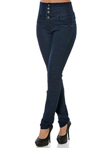 Damen High-Waist Jeans Hose Skinny Hoher Bund Röhre No 15842 Blau