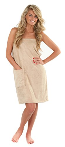 VEAMI Damen Spa Wickeltuch mit Druckknopf - Beige - Medium/Large (Snap Spa Wrap)