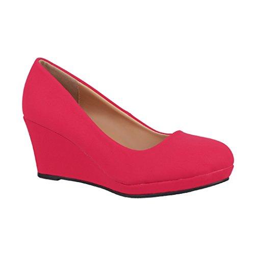 Elara Damen Pumps Keilabsatz Wedges Schuhe mit Plateau |Chunkyrayan B8011 Rot-40
