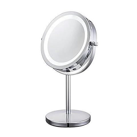 ALHAKIN 360° Tisch Spiegel 1 /10-Fach Vergrößerung Doppelseitiger Schlafzimmer 7 Inch Kosmetikspiegel 20,5 * 13,5 * 31,5 cm / Chrom gebürstet / (Doppelseitige Beleuchteter Make-up-spiegel)