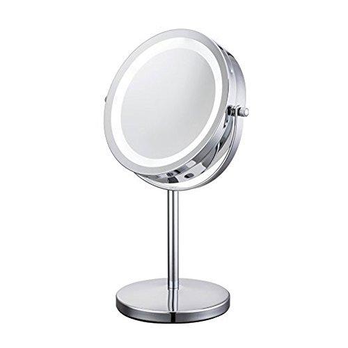 ALHAKIN 360° 7 inch 1/10 Fach LED Beleuchteter Kosmetikspiegel 17,8 cm Durchmesser verchromt batteriebetrieb 17 helle LEDs