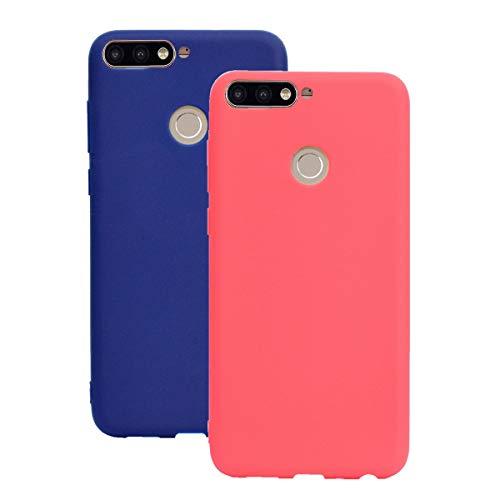 Misstars Silikon Hülle für Huawei Y9 2018, Soft Flex TPU Case im Candy Design Ultra Dünn Matt Weich Handyhülle Anti-Stoß Kratzfeste Schutzhülle für Huawei Y9 2018 / Enjoy 8 Plus, Rot + Dunkelblau