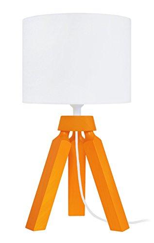 Tosel 65293 Lampe Chevet, 1 Lumière, Bois, E14, 40 W, Orange, 16 x 31 cm