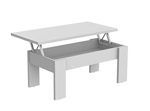 Mesa de centro elevable blanca para salón comedor. 100x50cm