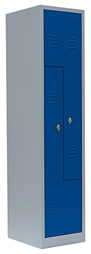 Spint Spind 2er Z-Spind Umkleide Stahl Kleiderschränke Gaderobenschrank 525101 blau (H x B x T):...