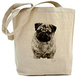Mike Sibley perro carlino Lienzo algodón Natural Shopper Bolso