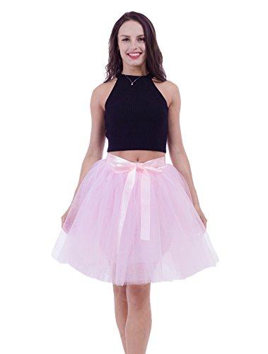 Honeystore Damen's Rock Tutu Tütü Petticoat Tüllrock 7 Schichten mit Gummizug für Karneval, Party und Hochzeit Rosa One Size (Herren Ballett Kostüm Muster)