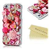 Mavis 's Diary 3D Handmade Bling Kristall für iPhone 55S Schmetterling und Colorful Blumen Strass Diamant mit Hard Case Cover mit weichem Reinigungstuch, Pink Flower Rhinestone Butterfly