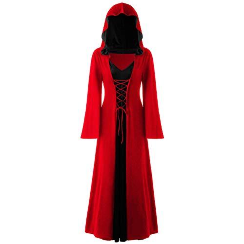Amphia - Damen Halloween kostüme,Damen Plus Größe Halloween Kapuzen Schnürsenkel Patchwork Lange Ärmel Lange Maxi-Kleid - Lange Ärmel kostüme Vintage Mittelalter Renaissance Party Kostüm