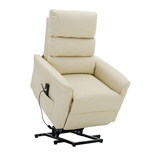 MCombo Elektrisch Aufstehhilfe Fernsehsessel Relaxsessel elektrisch verstellbar (Cremeweiß)