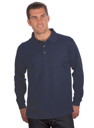 QUALITYSHIRTS Langarm Polo Shirt, Gr. 6XL, dunkelblau