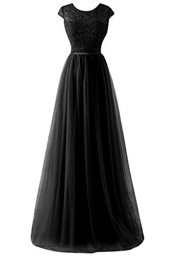 MisShow Damen Elegant Abschlussballkleid Cocktailkleid mit Stickerei lang Schwarz 34