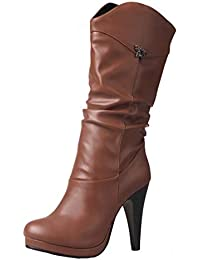 AIYOUMEI Damen Stiletto High Heels Geschlossen Plateau Halbstiefel mit 10cm  Absatz Modern Party Winter Stiefel… ba36c23d2f