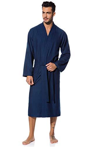 Morgenstern Kimono Bademantel Herren Saunamantel blau, Dunkelblau, XL