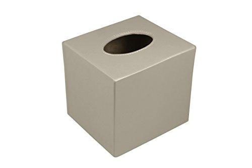 Lucrin - Boite carrée pour mouchoirs - Noir - Cuir Lisse Taupe Clair