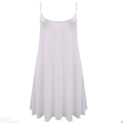 Fashion 4 Less - Robe - Patineuse - Sans Manche - Femme Blanc - Blanc