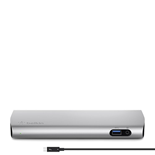 Belkin Thunderbolt 3 Express Docking Station (mit 1m aktives Thunderbolt 3 Kabel, verbindet bis zu 8 Geräte, mehrere USB-C und USB Anschlüsse, kompatibel mit Mac) aluminium