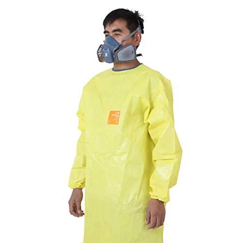 WHNS Arbeitsschutz Arbeitsschutzschürze Chemikalienschutzkleidung, Labor Schwere chemische biochemische Schutzkleidung, Anti-Säure-Starke Alkali-Arbeitskleidung, Gelb (Größe: L),Groß