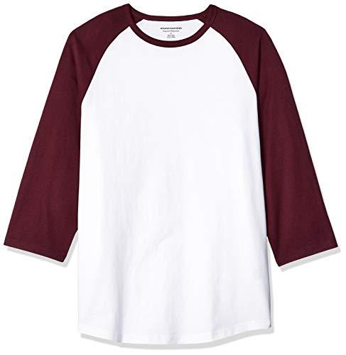 Über Baseball-t-shirt (Amazon Essentials Regular-Fit 3/4 Sleeve Baseball novelty-t-shirts, Port/White, US (EU XL-XXL))
