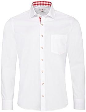 Almsach Trachtenhemd Dennis Slim Fit in Weiß und Rot Inklusive Volksfestfinder